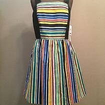 Nwt Kensie Medium Dress Rainbow Stripe Exposed Zipper New Photo