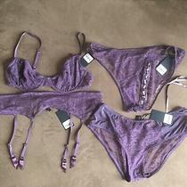 Nwt Kiki De Montparnasse Purple Lace Luxury Lingerie Set Bra Garter Panties Photo