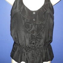 Nwt Kimchi Blue Urban Outfitters Size Xs Tank Top  Ruffled Black 100% Silk New Photo