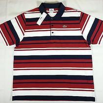 Nwt Lacoste Sport Stripes Polo Shirt S/s Mens Size Xxl Red / Blue / White Photo