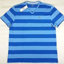 Nwt Lacoste Stripes v-Neck Tee Shirt T-Shirt S/s Mens Size Xxl Blue / Blue Photo