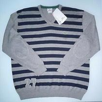 Nwt Lacoste v Neck Sweater Mens 7 Xl Blue Gray Striped 27 Croc Gator Embroidery Photo