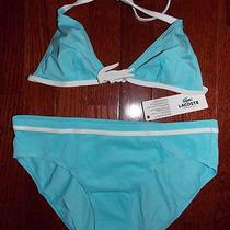 Nwt Lacoste Womens Swim Suit 2 Piece Bikini Aqua White Lacoste 40 Size 8 Mediuim Photo