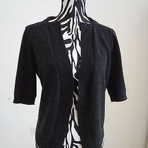 nwt.ladies' Magaschoni Charcoal Color 100%Cashmere Front Open Sweaterm Photo