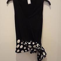 nwt.ladies' Theory Black/white Color Dots v-Neck Sleeveless/hip Strip Top0 Photo