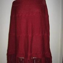 Nwt Land's End Garnet Fringe Cable Knitsweater Ponch L/xl Photo