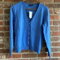 Nwt Lands'end Sky Blue With Black Crochet Trim v-Neck Cardigan Sweater Size S 6- Photo
