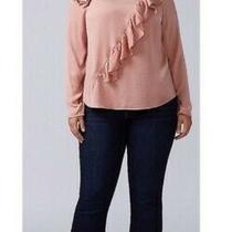 Nwt Lane Bryant Blush Pink Ruffled Blouse Size 22  Photo