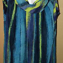 Nwt Lane Bryant Womens Top Plus Size 22 Tunic Silky Sleeveless Blue/green Blouse Photo