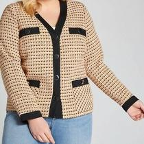 Nwt Lane Bryant Yellow Multi Black Contrast Tweed Button Blazer Jacket Size 22 Photo