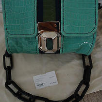 Nwt Lanvin Smtwin Navy & Green Double Pouch Handbag W/black Resin Shoulder Strap Photo