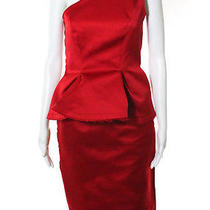 Nwt Lanvin Tomato Red One Shoulder Satin Peplum Dress Sz 36 3285 2711 Photo