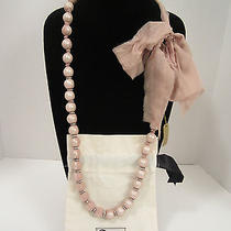 Nwt Lanvin Women's Rosy Taupe Chiffon Ribbon Covered Faux Pearl Necklace  France Photo