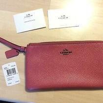 Nwt Large Coach 54051 Pebbled Leather Double Colorblock Rouge Pink Zip Wristlet Photo