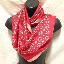 Nwt Large Fossil red&pink Scarf. Stars/diamond Print. 100% Silk. Last One Photo