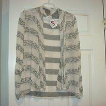 Nwt Lashes Blush Brown & Cream Stretch Knit Cardigan Sweater Sz Medium Photo