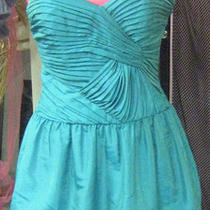 Nwt Laundry by Design Glowing Aqua Dress Pleated Knot Bodice Soft Bubble Hem 6 Photo