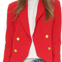 Nwt Laveer Kadette Red Blazer Jacket Double Breasted Gold Buttons Sz 2 Zara Photo