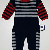 Nwt Le Top Bebe Infant Boys Navy Blue Striped Full-Length Ls Knit Romper 3m 9m Photo
