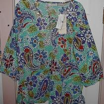 Nwt Lemon Grass Xl Permanent Crushed Fabric Top 3/4 Sleeve Aqua Beads/sequin  Photo