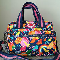 Nwt Lesportsac Medium Two Zip Crossbody Tote Bag Purse Brolly Blue Pink Yellow Photo