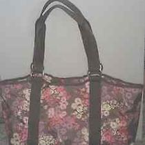 Nwt Lesportsac Pink Gray Purple Wistful Floral Carryall Tote Shoulder Purse Bag Photo