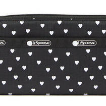 Nwt Lesportsac Taylor Zip Around Organizer Wallet - Black Mini Hearts 75 Photo