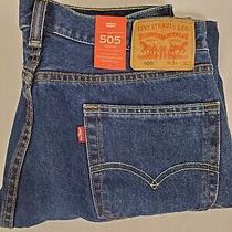 Nwt Levi's 505 Regular Fit Straight Leg Blue Jeans Men's 34 X 30 Photo