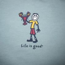 Nwt Life Is Good Ss Womens T Shirt Xl Horizon Aqua   Jake With Lobster Photo
