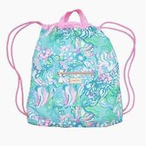 Nwt Lilly Pulitzer Drawstring Beach Backpack Bag - Aqua La Vista Blue Ibizia Photo