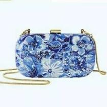 Nwt Lilly Pulitzer Hard Case Clutch Coastal Blue Catch N Keep With Gold Chain St Photo