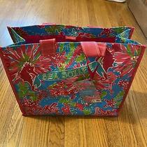 Nwt Lilly Pulitzer Market Bag Sea Soiree Turquoise Pink Reusable Grocery Tote Photo