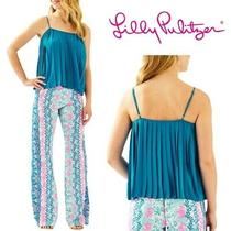 Nwt Lilly Pulitzer Rein Pleated Tank Top Peacock Blue - Size L Photo