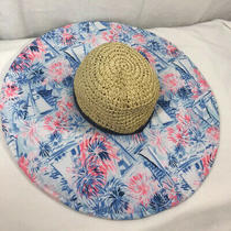 Nwt Lilly Pulitzer Sea to Shining Sea/crew Blue Straw Beach Hat Women Photo