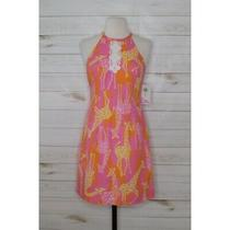 Nwt Lilly Pulitzer  Size 0 Giraffe Print Lace Trimmed Dress Pink Orange  Photo