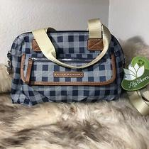 Nwt Lily Bloom Abigail Satchel - Picnic Plaid Navy Print Photo