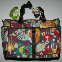 Nwt Lily Bloom Floral Bliss Maya Large Tote/travel/diaper Bag Eco Gray/red/aqua Photo