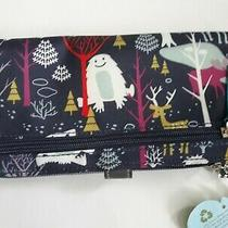 Nwt Lily Bloom Large Travel Wallet Clutch Playful Yeti and Snowy Animals  Photo