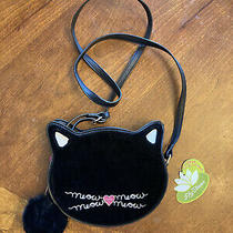 Nwt Lily Bloom Meow Fuzzy Black Kitty Cat Crossbody Shoulder Purse Bag Photo
