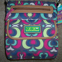 Nwt Lily Bloom Padded Computer Tablet Tote Purse Gray/pink/blue/lime Recycled   Photo
