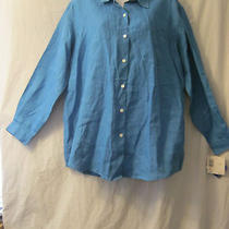 Nwt Liz Claiborne Sport Blue Long Sleeve Button Down Linen Shirt Womens Sz. Pl  Photo