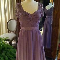 Nwt Long Chiffon Dress Lavender Mauve Blush Wedding Gown Bridesmaid 4 Small S  Photo