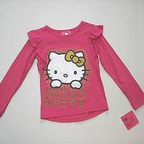 Nwt Long Sleeve Pink Hello Kitty Shirt Ruffle Trim at Shoulders Sz 6 Photo