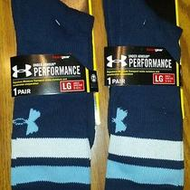 Nwt Lot of 2 Men's Under Armour Navy Blue Ua Athletic Performance Crew Socks - L Photo
