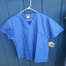 Nwt Lot of 2 O2 Pure Element Sz Sm Ciel Blue Cotton Blend S/s Medical Scrub Tops Photo