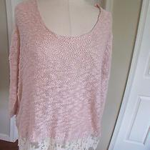 Nwt Love by Design Women's Blush Acrylic/lace Sweater 3/4 Sleeves Size Large Photo