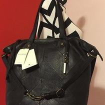 Nwt Lucky Brand Piecetrain Leather Handbag Crossbody Black Large Tote Hobo  Photo
