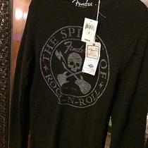 Nwt Lucky Brand Skull & Crossbones Fender Guitar Black Thermal Shirt S Small Photo