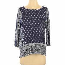 Nwt Lucky Brand Women Blue 3/4 Sleeve Blouse S Photo