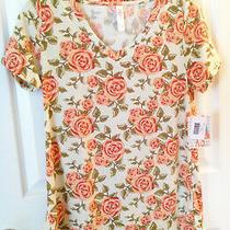 Nwt Lularoe Christy T Short-Sleeved Shirt Xs Cross Stitch Roses Floral Photo
